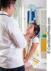examinando, menina,  lymph, nós, pediatra