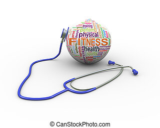 3d stethoscope and fitness wordcloud ball - 3d illustration...