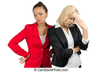 Two business lady making a dicision on white background