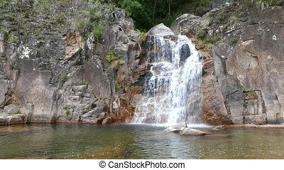 Tahiti waterfall in Peneda Geres National Park in Portugal....