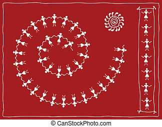 Folk Dancers Tribal Design, Motif, Wall Painting Vector Art
