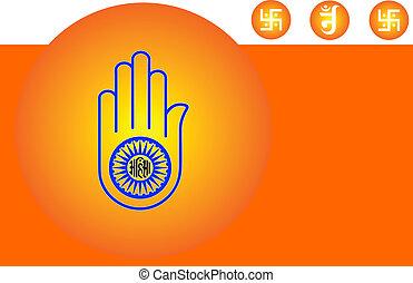 Jain Emblem, Flag, Swastica Vector Art