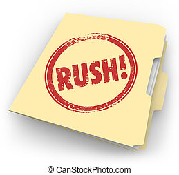 Rush Word Stamped Manila Time Sensitive Folder Documents...