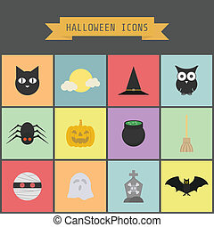 halloween icon - set of halloween icon, pastel and flat...