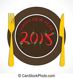 happy new year 2015 design with restaurant theme vector