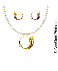 Pearl Gold Jewellery Necklace, Earrings, Pendent Vector Art