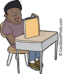 Student Reading at Desk