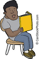 Smiling Person Reading - Happy young person reading blank...