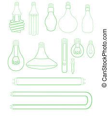 Light bulbs set - A vast assortment of light bulbs.