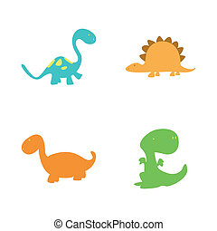 Dinosaurs - abstract cute dinosaurs on a white background