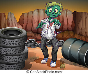 A scary zombie in the desert - Illustration of a scary...