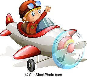 A vintage plane with a pilot - Illustration of a vintage...