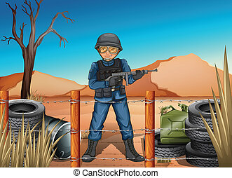 A soldier in the battlefield - Illustration of a soldier in...