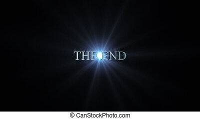 The end title - 3d blue metallic animation flying away from...