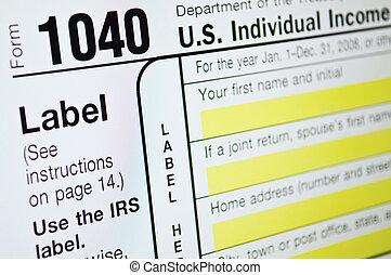USA Individual income tax form