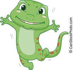 Happy Gecko - Illustration Featuring a Gecko Jumping in Glee