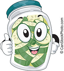 Pickle Jar Mascot - Mascot Illustration Featuring a Pickle...