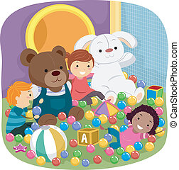 Indoor Playground Kids - Illustration Featuring Kids Playing...
