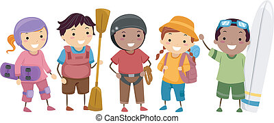 Outdoor Sports - Illustration of Kids Wearing Different...
