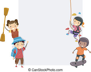 Sports Adventure Board - Board Illustration Featuring Kids...