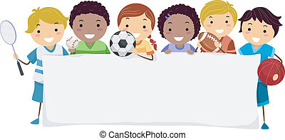Sports Banner - Banner Illustration Featuring Kids Wearing...