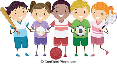 Sports Kids - Illustration Featuring Kids Holding Different...