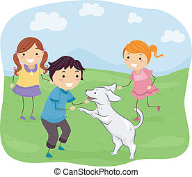 Kids Playing with Their Dog - Illustration Featuring Kids...