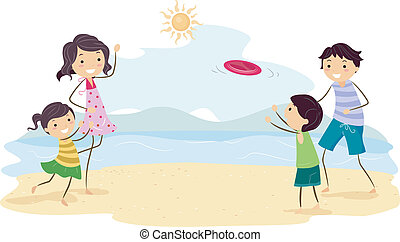 Family Frisbee - Illustration Featuring a Family Playing...