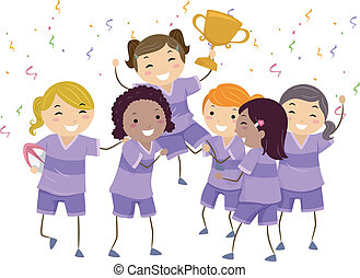Kiddie Champions - Illustration Featuring a Group of Girls...