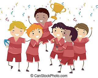 Kiddie Champions - Illustration Featuring a Group of Kids...