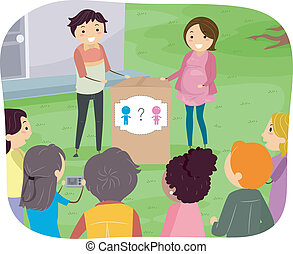 Gender Reveal - Illustration Featuring a Couple About to...