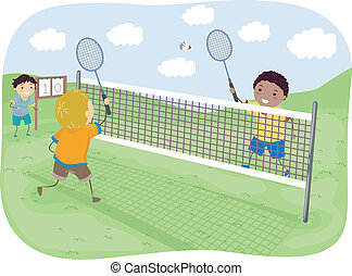 Badminton Boys - Illustration Featuring Kids Playing...