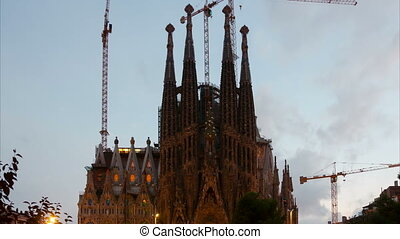 Sagrada Familia in evening - BARCELONA, SPAIN - SEPTEMBER...