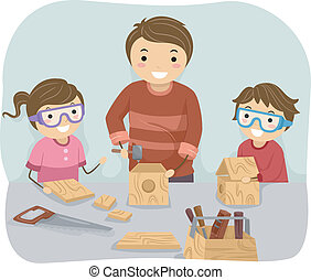 Woodwork Family - Illustration of a Father Teaching His Kids...