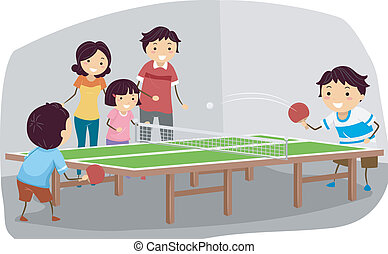 Table Tennis Family - Illustration Featuring a Family...