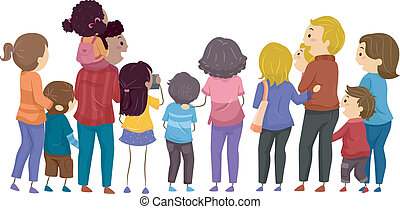 Family Day - Back View Illustration Featuring Groups of...