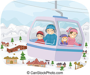 Winter Cable Car - Illustration Featuring a Family in a...