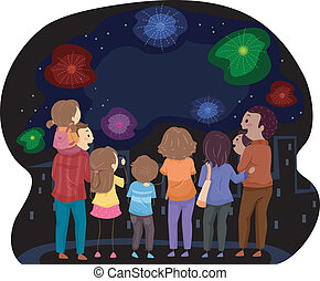 Fireworks Display - Illustration Featuring Families Watching...