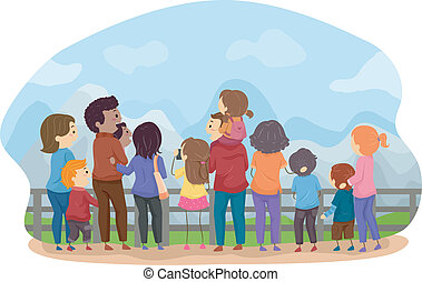 Family Sightseeing - Back View Illustration Featuring...