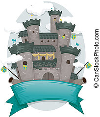 Castle Banner - Banner Illustration with a Medieval Castle...