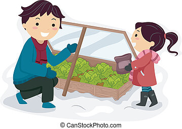 Winter Garden - Illustration Featuring a Father and Daughter...
