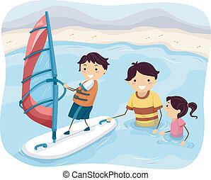 Wind Surfing Family - Illustration Featuring a Father...