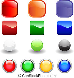 web buttons set - Set of glossy vector internet buttons for...