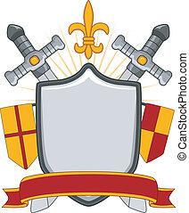 medieval, escudo, bandeira