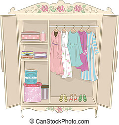 Shabby Chic Armoire - Illustration Featuring an Armoire with...