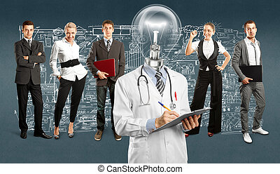 Business Team With Lamp Head Doctor - Idea concept. Lamp...