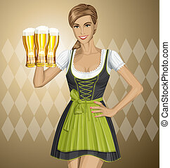 Vector Cute Woman In Drindl On Oktoberfest - Vector cute...