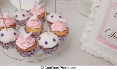 Table with different cakes. Close up. Dolly shot. - Table...
