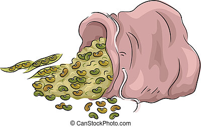Bean Bag - Illustration Featuring Beans Spilling from a bag