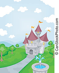 Castle Fountain - Illustration Featuring a Fountain with a...